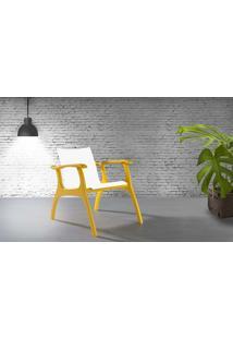Poltrona Decorativa De Madeira - Poltrona Para Recepção - Laca Amarelo E Branco - Calvin - 66X77X67 Cm