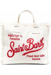 Mc2 Saint Barth Bolsa Tote Com Logo Bordado - Neutro