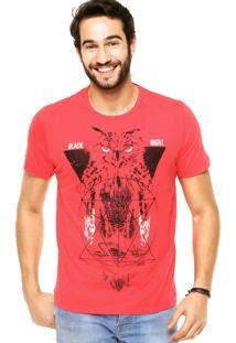 Camiseta Manga Curta Colcci Black Night Vermelha/Branca