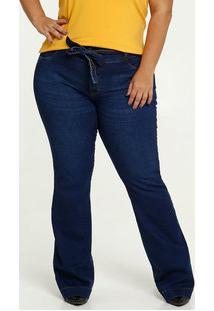 Calça Jeans Feminina Stretch Flare Plus Size