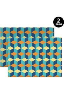 Jogo Americano Mdecore Geométrico 40X28Cm Azul 2Pçs