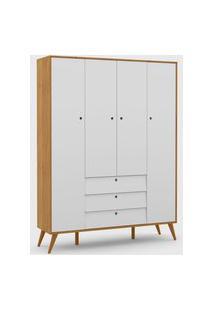 Roupeiro 4 Portas Gold Freijó / Branco Soft / Eco Wood Matic Móveis