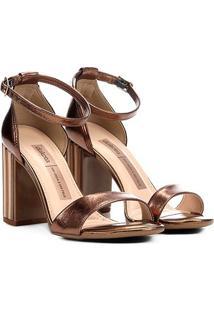 Sandália Dakota Salto Grosso Quadrado Metalizada Feminina - Feminino-Bronze
