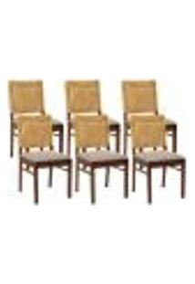 Kit 06 Cadeiras Para Sala De Jantar E Cozinha Sit Canela Linho Rústico Bege Escuro - Gran Belo