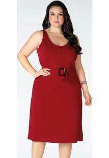 Vestido Plus Size Vermelho Com Alças