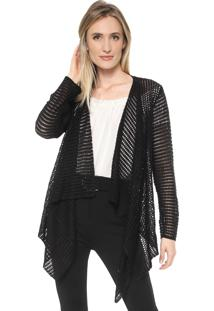 Cardigan Mercatto Tricot Assimétrico Preto