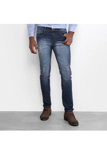 Calça Jeans Skinny Opera Rock Masculina - Masculino-Azul Escuro