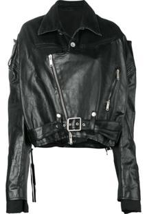 Unravel Project Cropped Biker Jacket - Preto