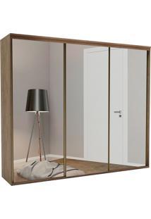 Guarda-Roupa Casal 2,27Cm 3 Portas C/Espelho Liminum Light Fosco-Belmax - Ebano