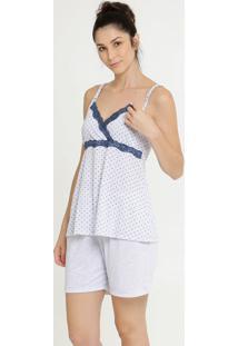 Pijama Feminino Amamentação Estampa Bolinhas Marisa