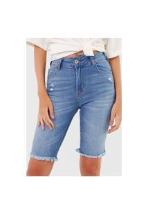Bermuda Jeans Colcci Reta Bia Azul