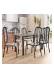 Conjunto De Mesa Com 6 Cadeiras Granada Preto E Branco Floral Gr