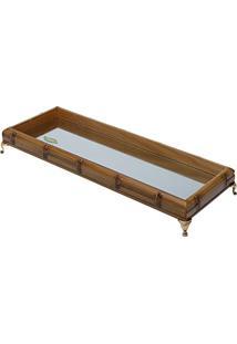Bandeja Retangular Woodart De Bambu Com Espelho E Pé Niquelado Dourado 50 X 18 X 6,5 Cm