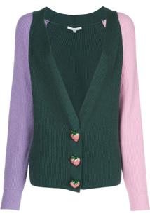 Olivia Rubin Cardigan De Tricô Com Botões Em Forma De Morango - Verde