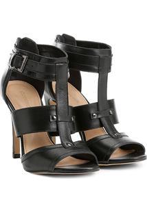 Sandália Couro Shoestock Salto Fino Fivela Feminina - Feminino-Preto