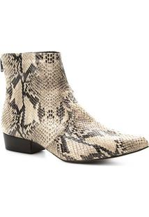 Bota Couro Cano Curto Shoestock Snake Feminina - Feminino