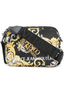 Versace Jeans Couture Logo Baroque-Print Crossbody Bag - Preto