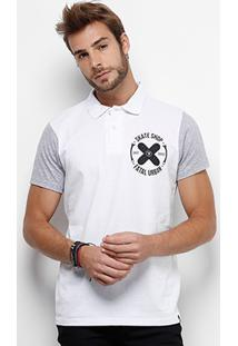 Camisa Polo Fatal Malha Bicolor Masculina - Masculino-Branco+Cinza