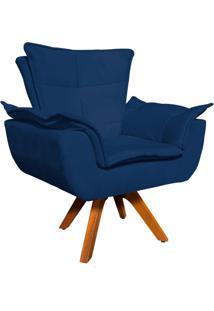 Poltrona Decorativa Giratã³Ria Gran Opala Base Madeira Suede Azul Marinho - D'Rossi - Azul Marinho - Dafiti