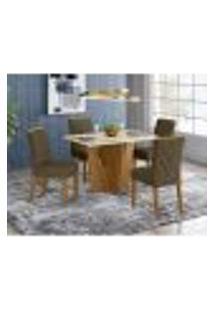 Mesa De Jantar Vértice 120Cm 4 Cadeiras Vita - Nature/Off White/Marrom Claro