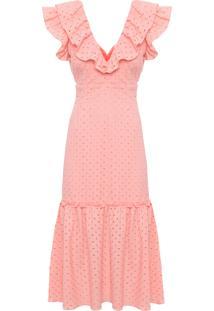 Vestido Feminino Midi Decote Quadrado - Laranja
