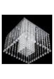Lustre Acrílico Plafon Com Base Em Aço Inox Polido Para 8 Lâmpadas Halopin G9 40Cm - Jp Mito 40