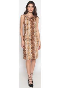Vestido Animal Com Recortes- Marrom & Preto- Cotton Cotton Colors Extra