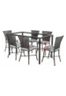Jogo De Jantar 6 Cadeiras Turquia Tabaco A08 E 1 Mesa Retangular Sem Tampo Ideal Para Área Externa Coberta