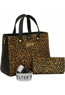 Kit Bolsa Selten Handbag Animal Print + Carteira Feminina - Feminino