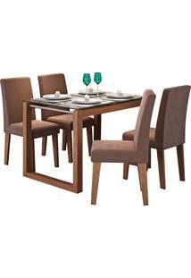 Conjunto De Mesa Anita Para Sala De Jantar Com E 4 Cadeiras Milena -Cimol - Savana / Chocolate
