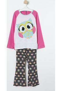 Pijama Corujinha- Rosa & Preto- Puketpuket