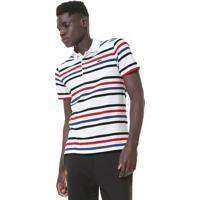 9dd0b74a290 Camisa Polo Lacoste Reta Listras Branca Azul