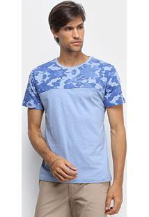 Camiseta Canal Surf Recorte Camuflado Algodão Masculina - Masculino-Azul Claro