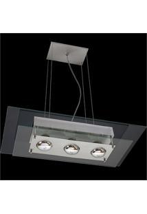 Pendente Retangular Para 3 Lâmpadas Spacial Transparente