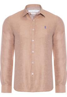 Camisa Masculina Linho Double - Marrom