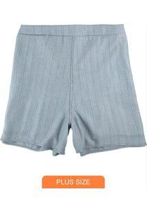 Shorts Azul Alfaiataria Com Lurex