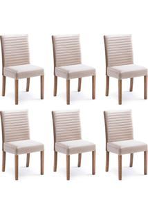 Conjunto Com 6 Cadeiras De Jantar Alba Caramelo E Imbuia