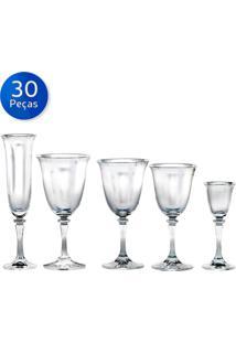 Jogo De 30 Taças De Cristal Kleopatra-Bohemia - Transparente