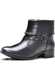 Bota Ankle Boot Sapatofranca Com Franja Cano Curto Sem Cadarço Com Fivela Preto - Kanui