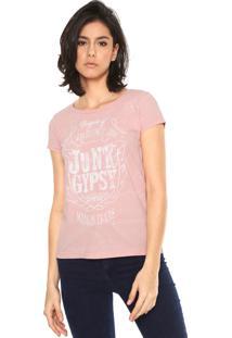 Camiseta Fiveblu Junk Gypsy Rosa