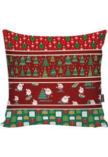 Capa Para Almofada Em Microfibra Papai Noel & Presentes-Stm Home