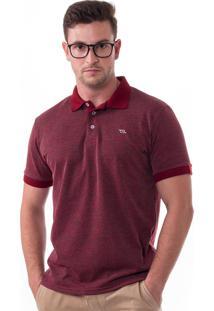 Camisa Polo Vista Mare Marechiaro Slim Fit Vermelha Bordô