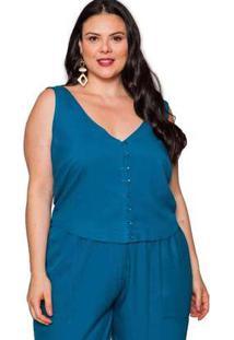 Cropped Almaria Plus Size Pianeta Viscose Vintage Azul