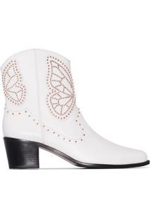 Sophia Webster Ankle Boot Shelby Com Aplicação De Tachas E Salto 50Mm - Branco