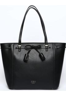 Bolsa Com Laço & Recortes - Preta - 26X28X13Cmguess