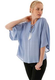 Blusa Decote V De Amarrar Estampa Folhas