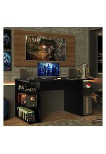 Mesa Para Computador Gamer E Painel Para Tv Até 50 Madesa Preto/Rustic Preto