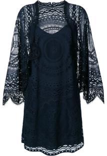 Chloé Vestido Com Renda - Azul