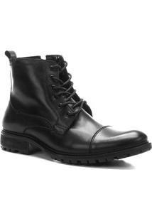 Bota Coturno Shoestock Couro Tratorada Masculina - Masculino-Preto