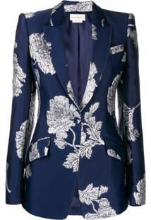 Alexander Mcqueen Embroidered Floral Print Blazer - Azul